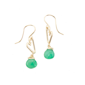Heart Drop Earrings - Green Onyx