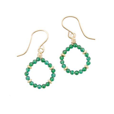 Micro Gem Earrings - Green Onyx