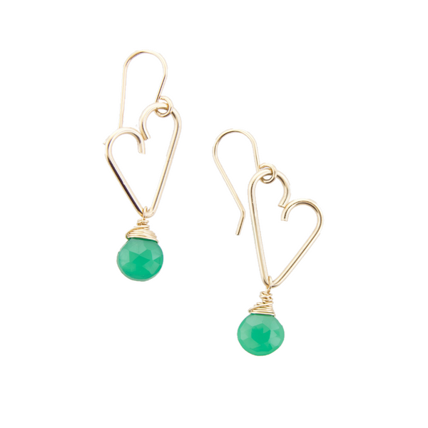 Heart Drop Earrings - Green Onyx - Medium Size