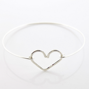 Heart Bangle - Sterling Silver