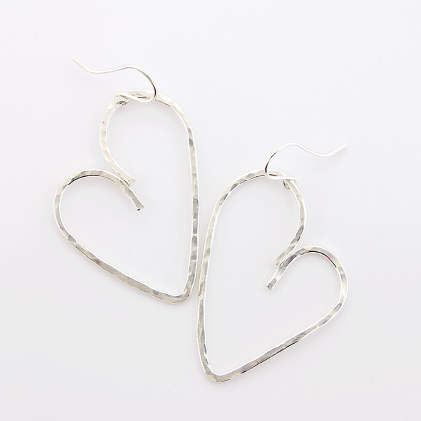 Hammered Heart Earrings