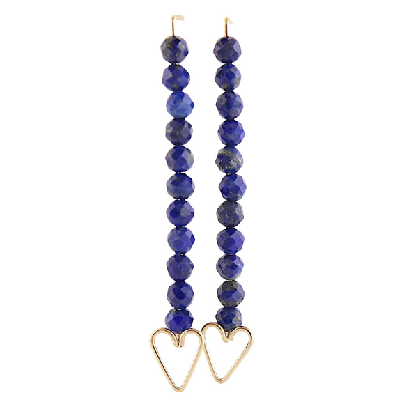 Heart Arrow Earrings - Lapis