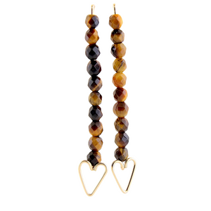 Heart Arrow Earrings - Tigers Eye