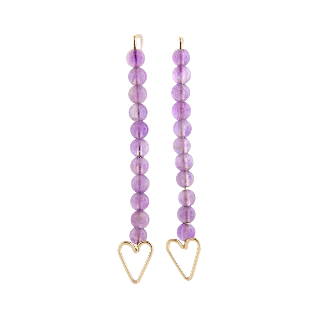 Heart Arrow Earrings - Amethyst