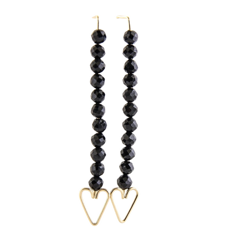 Heart Arrow Earrings - Black Onyx