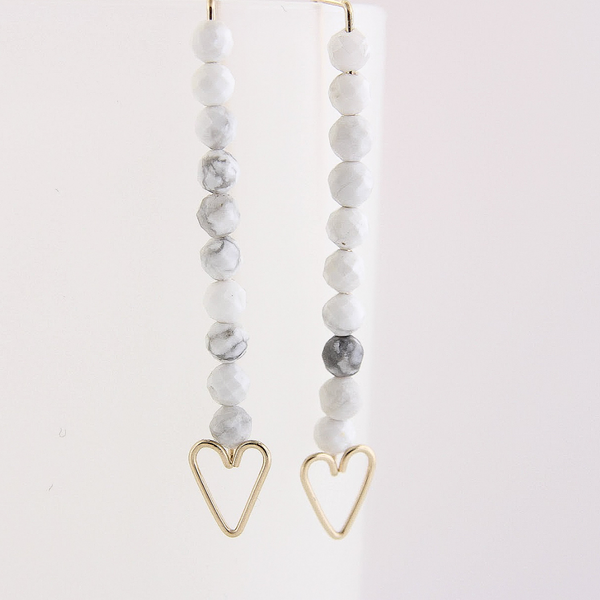 Heart Arrow Earrings - Howlite