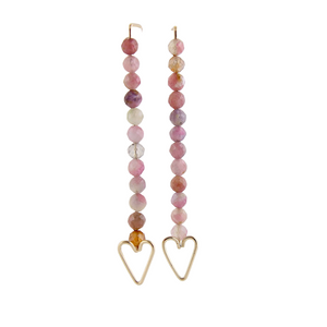 Heart Arrow Earrings - Pink Tourmaline