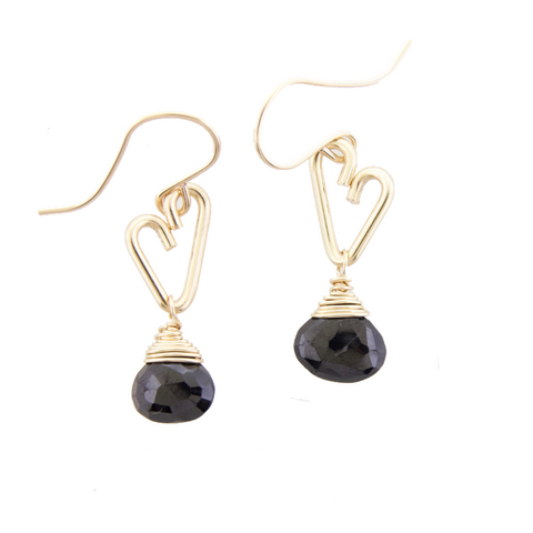 Heart Drop Earrings - Black Onyx