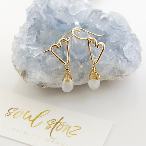 Heart Drop Earrings - Moonstone -Small