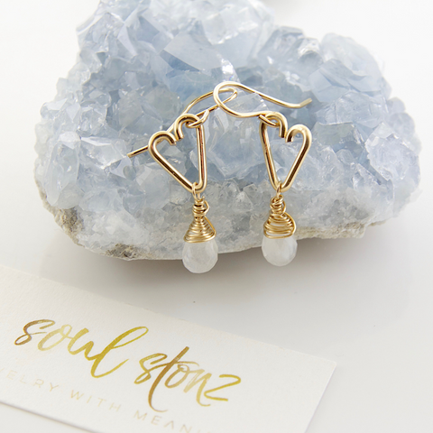 Heart Drop Earrings - Moonstone