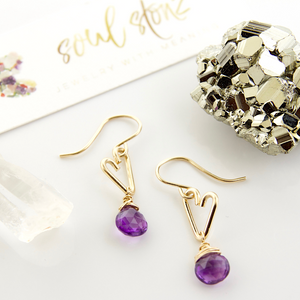 Heart Drop Earrings - Amethyst