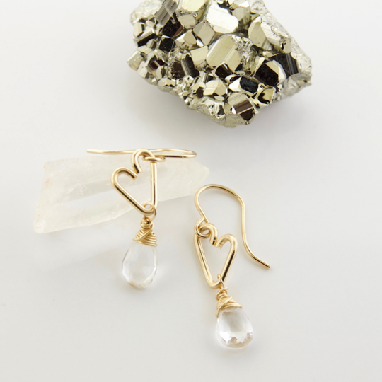 Heart Drop Earrings - Crystal Quartz
