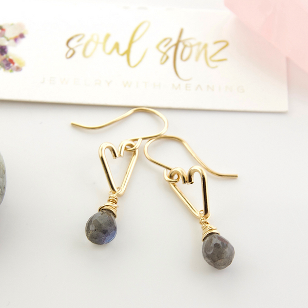 Heart Drop Earrings - Labradorite