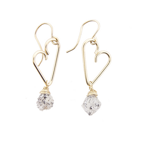 Heart Drop Earrings - Herkimer Diamond - Medium Size
