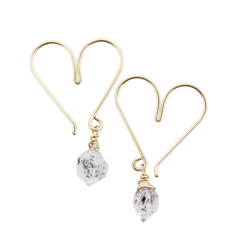 Gemstone Heart Hoops Small - Herkimer Diamond