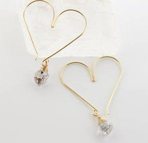 Gemstone Heart Hoops - Herikmer Diamond Medium
