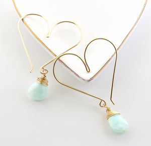 Gemstone Heart Hoops - Peruvian Opal Medium