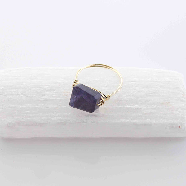 Iolite Wire Wrapped Ring