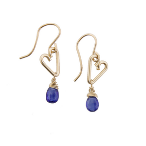 Heart Drop Earrings - Iolite - Small