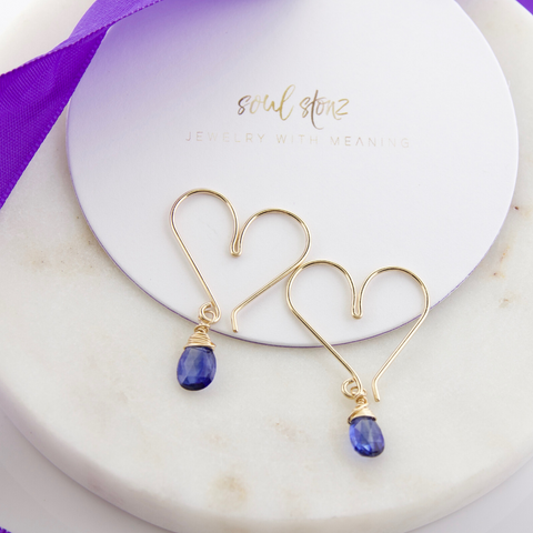 Gemstone Heart Hoops Small - Iolite