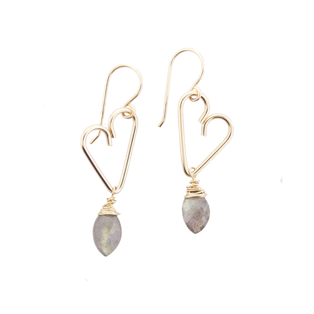 Heart Drop Earrings - Labradorite  - Medium Size