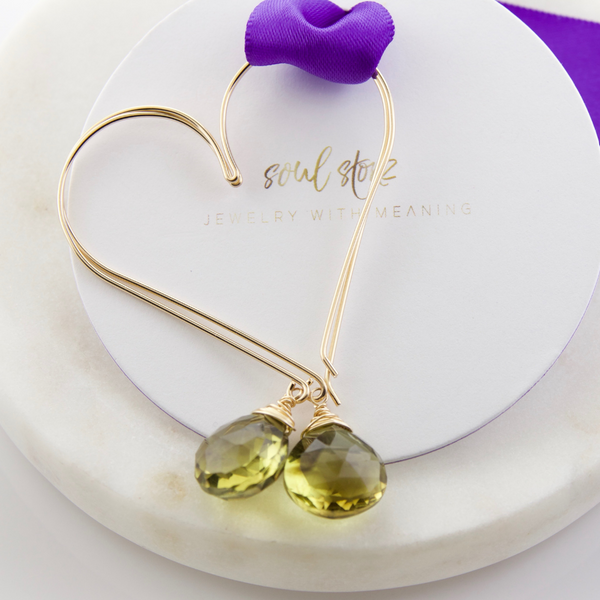 Gemstone Heart Hoops - Large