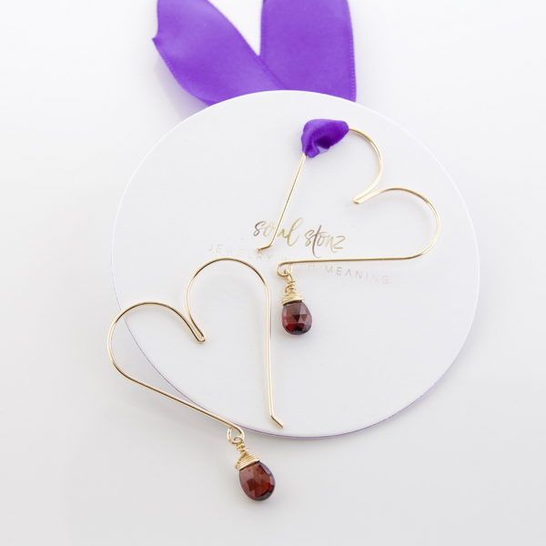 Gemstone Heart Hoops - Garnet Medium