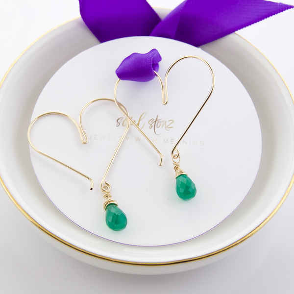 Gemstone Heart Hoops - Green Onyx  Medium