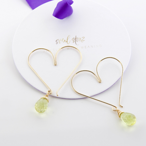 Gemstone Heart Hoops - Lemon Quartz Medium