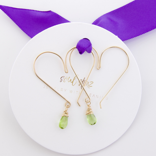 Gemstone Heart Hoops - Peridot Medium