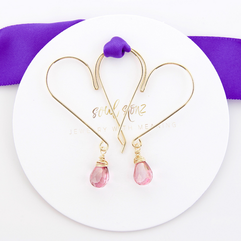 Gemstone Heart Hoops - Pink Quartz Medium