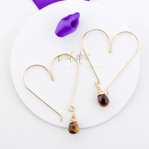 Gemstone Heart Hoops - Tigers Eye Medium