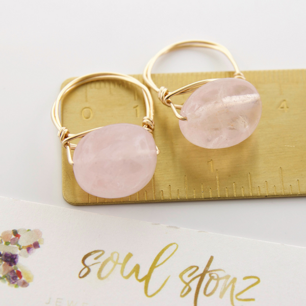 Medium Rose Quartz Nugget Rings