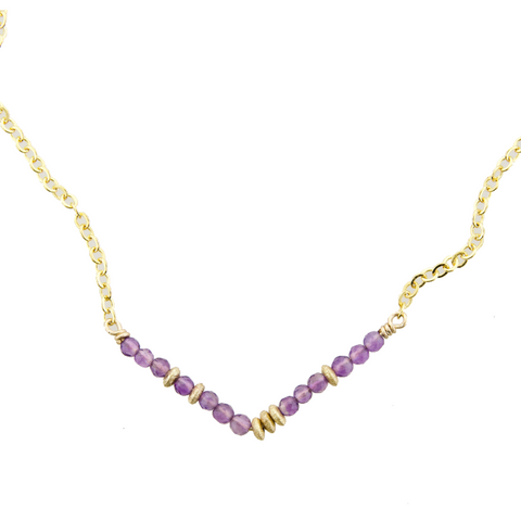 Glimmer V Necklace - Amethyst