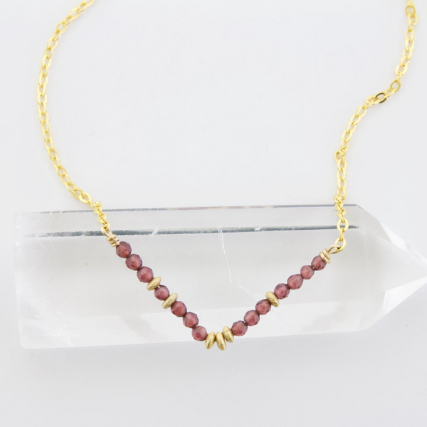 Glimmer V Necklace - Garnet