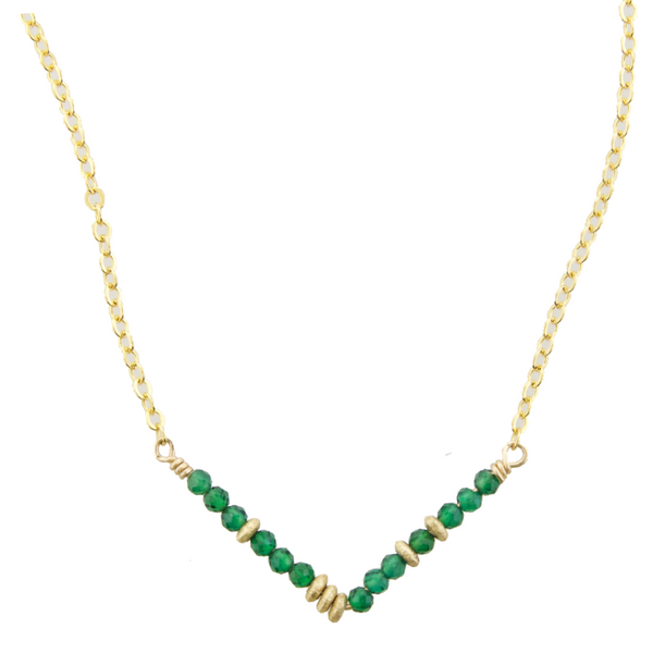 Glimmer V Necklace - Green Onyx