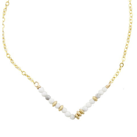 Glimmer V Necklace - Howlite