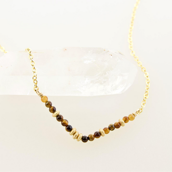 Glimmer V Necklace - Tigers Eye