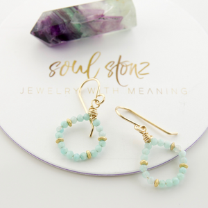 Micro Gem Earrings - Amazonite