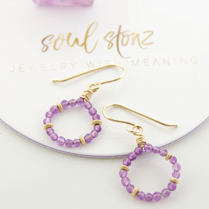 Micro Gem Earrings - Amethyst