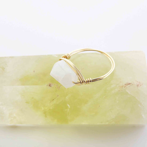 White Rainbow Moonstone Wire Wrapped Ring