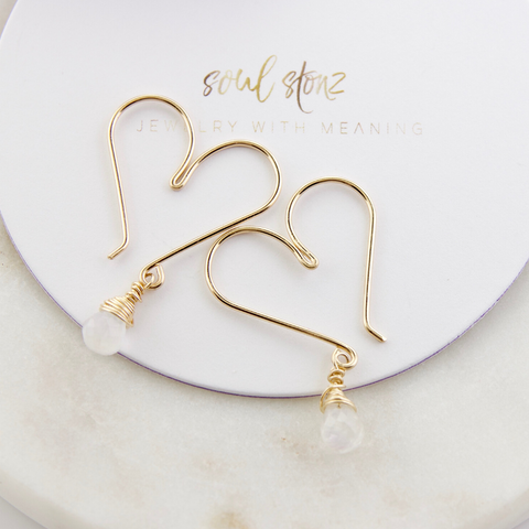 Gemstone Heart Hoops Small - Moonstone