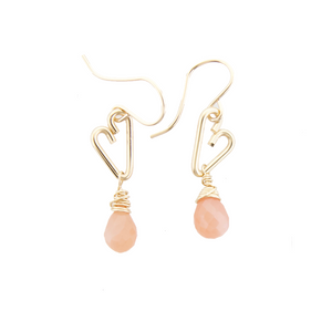 Heart Drop Earrings - Peach Moonstone