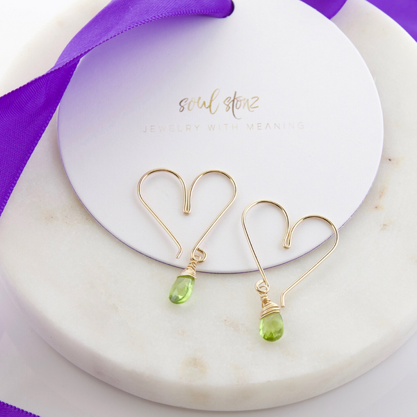 Gemstone Heart Hoops Small - Peridot