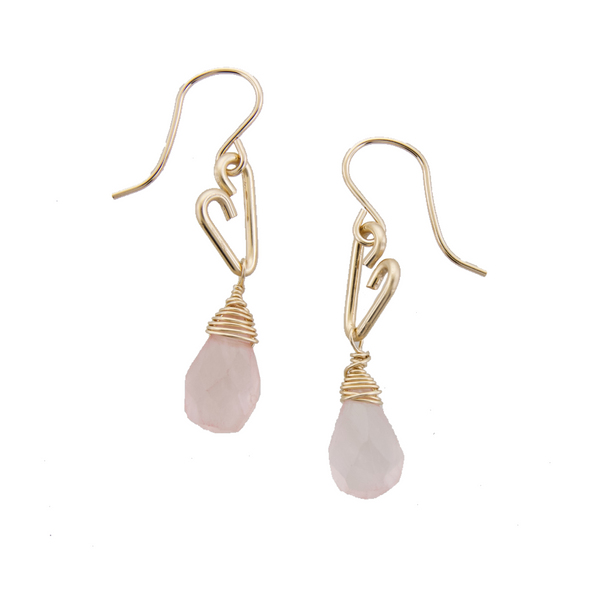 Heart Drop Earrings - Rose Quartz