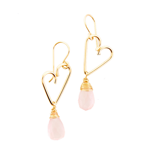 Heart Drop Earrings - Rose Quartz - Medium Size