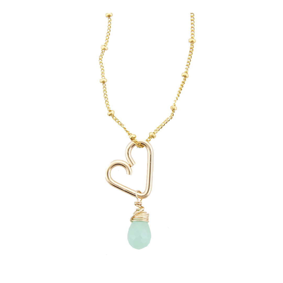 Heart Drop Necklace  - Aqua Chalcedony