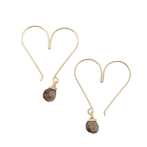 Gemstone Heart Hoops - Smokey Quartz Medium