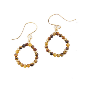 Micro Gem Earrings - Tigers Eye