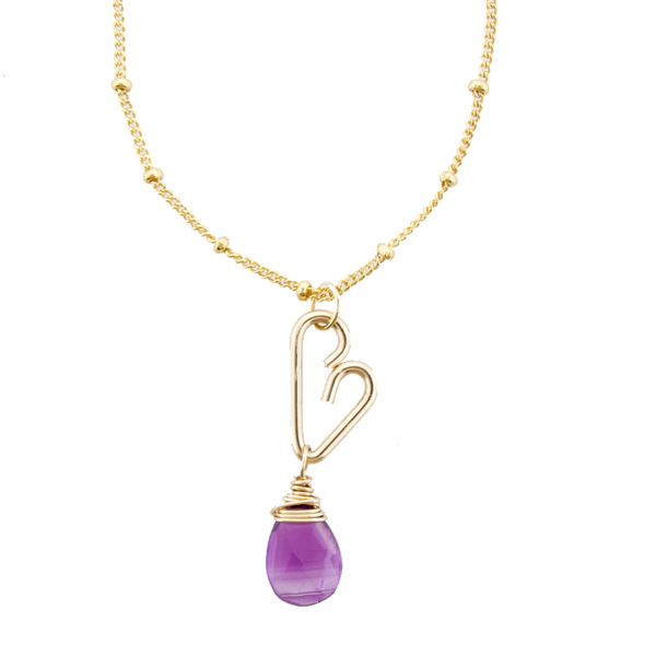 Heart Drop Necklace  - Amethyst